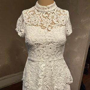 Misguided petite short sleeve lace high neck dress